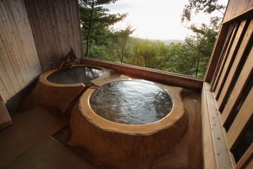 展望風呂からは阿蘇の雄大な景色が堪能できます。