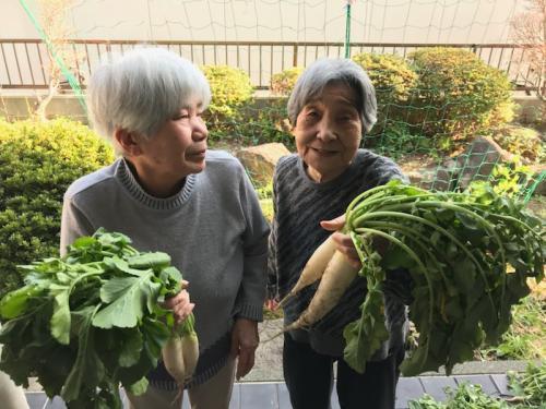 庭で採れた野菜をもって、ハイチーズ!!